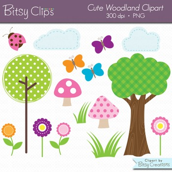Cute Woodland Digital Art Set Clipart Woodland Clipart Nature Clipart