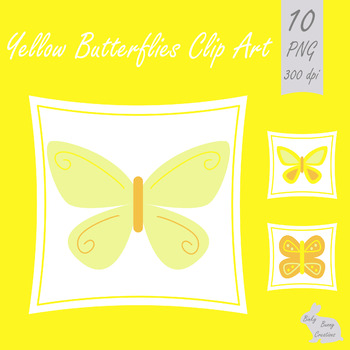 Butterfly Clip Art Butterflies Yellow Clipart Spring Summer Bugs Insects