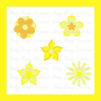 Flowers Clip Art Yellow Spring Summer Clipart