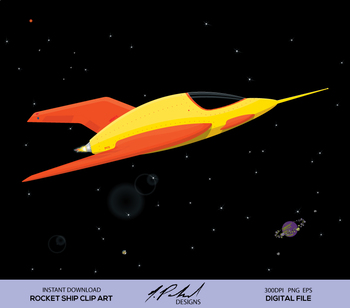 Cute Yellow Rocket Ship Digital Clip Art - Digital File - Space Rocket Clipart