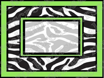 Labels: Zebra with lime green, 10 per page