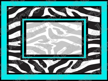 Labels: Zebra with turquoise, 10 per page