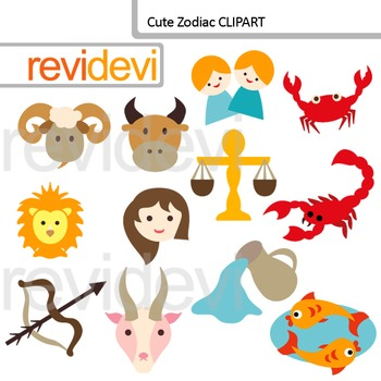 Cute Zodiac digital clip art