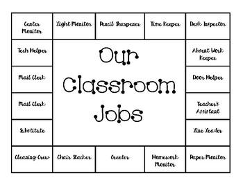 Cute and Neat Classroom Job Chart