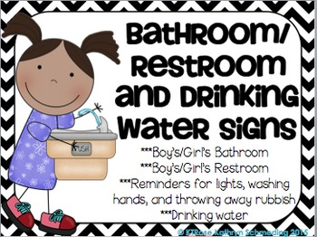 Bathroom/Restroom and Drinking Water Signs