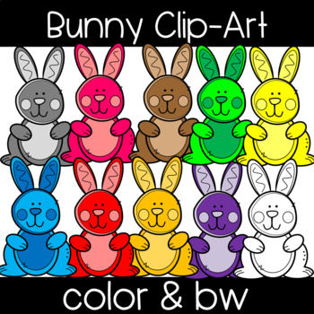 Cute and Colorful Bunny Rabbit Clip Art