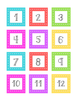 Cute and Colorful Classroom Numbers