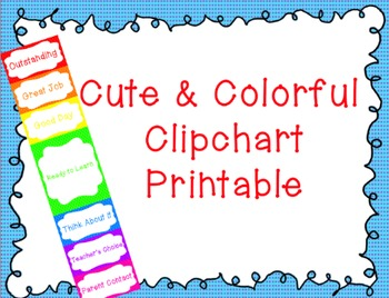 Cute and Colorful Clip chart- Printable