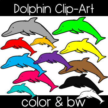 Cute and Colorful Dolphin Clipart