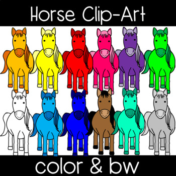 Cute and Colorful Horse Clipart