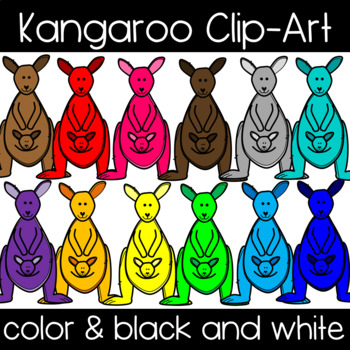 Cute and Colorful Kangaroo Clipart