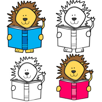 Cute and Colorful Lion Reading a Book Clip Art