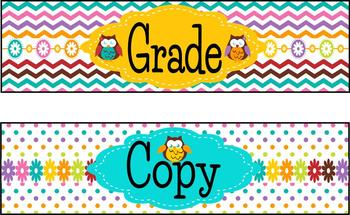 Cute and Colorful Owl File/Copy/Grade Labels