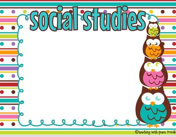 Cute and Colorful Owl Learning Objectives Posters (including blank editables)