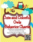Cute and Colorful Owl Theme Behavior Management Charts