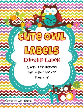Cute and Colorful Owl Theme Labels*Editable*
