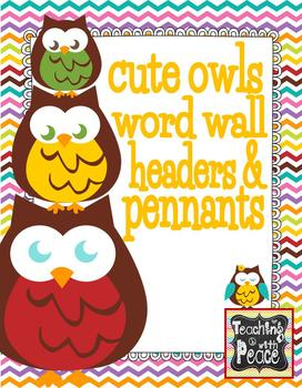 Cute and Colorful Owl Theme Word Wall Headers and Title Pennants