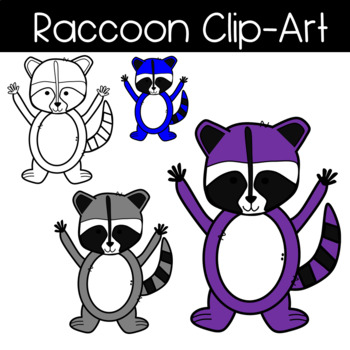 Cute and Colorful Raccoon Clipart