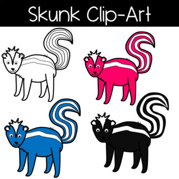 Cute and Colorful Skunk Clipart