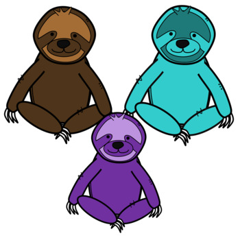 Cute and Colorful Sloth Clipart