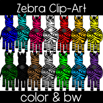 Cute and Colorful Zebra Clipart