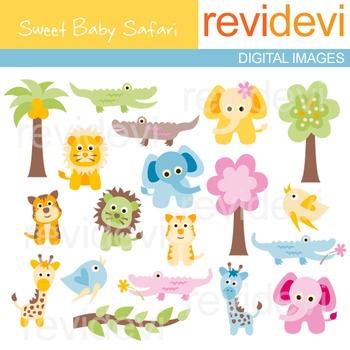 Cute animal clip art (elephant, lion, giraffe, crocodile)