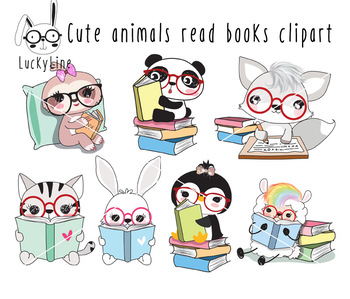 Cute animals read book clipart instant download PNG file.