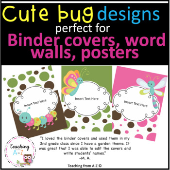Cute as a Bug EDITABLE Binder Covers