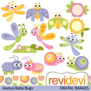 Cute baby bugs clip art (ladybugs, snails, flowers)