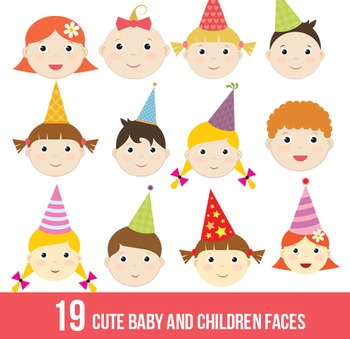 Cute baby,children faces,kid,digital clipart,clip art set,transparent background