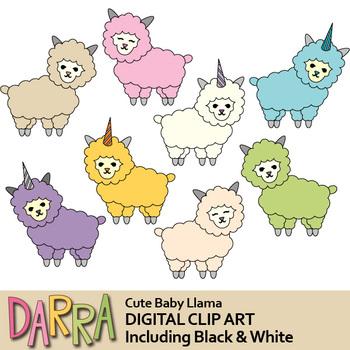 Cute baby llama clip art, llamacorn clipart