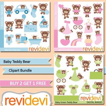 Cute baby teddy bear clip art (3 packs)
