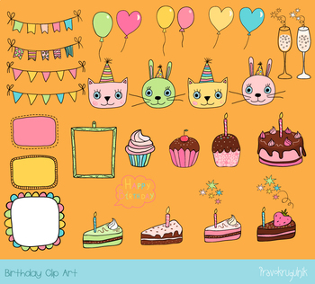 Cute birthday party clipart, Birthday bunting, cake, cupcake, balloon, pink cat