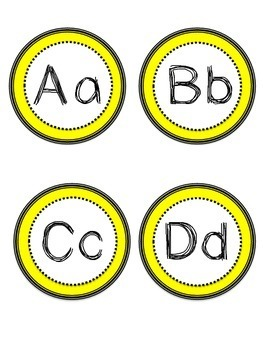 Cute black and Yellow word wall cards/flash cards A-Z