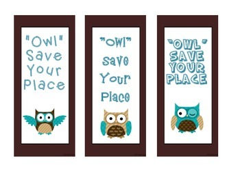 Cute blue and brown owl bookmarks