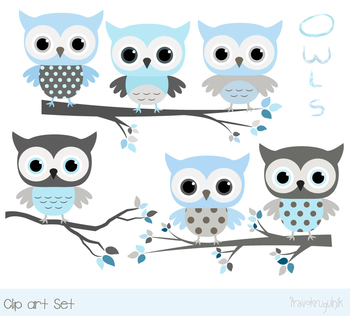 Cute blue gray owls clipart with tree branches, Baby shower boy animal clip art