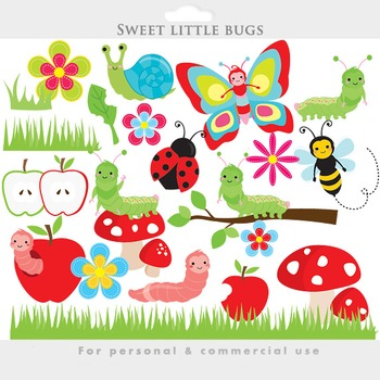 Cute bugs clipart - clip art caterpillar ladybug butterfly snail insects