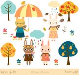 Cute bunnies clip art, Bunny rabbit clipart, Easter rabbits, Autumn set