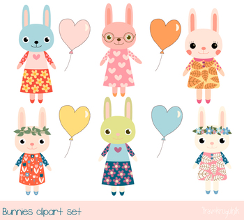 Cute bunny clipart, Baby girl bunny clip art, Easter rabbit, Heart shape balloon