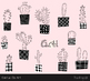 Cute cactus clipart black and white modern houseplant, Hand drawn succulent
