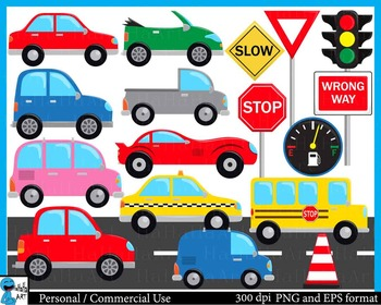 Cute cars -  Clip Art Digital Files Personal Commercial Use cod199
