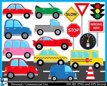 Cute cars -  Clip Art Digital Files Personal Commercial Us