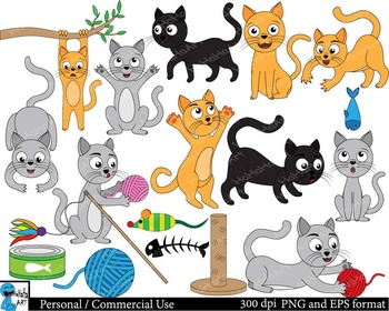 Cute cats - Digital Clip Art Graphics Personal Commercial Use 57 images cod153
