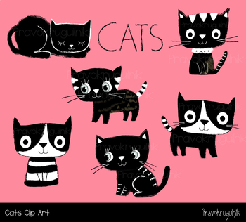 Cute cats clipart, Black and white kitty clip art, Kawaii kitten, animal pet