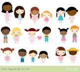 Cute children clipart, Stick figure multinational multiracial, African American