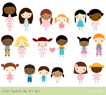 Cute children clipart, Stick figure multinational multiracial, African American