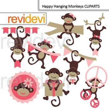 Cute clip art: Happy hanging monkeys (pink, brown) commercial use