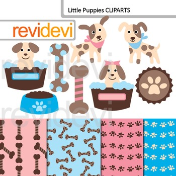 Cute clip art: Little Puppies (dog, pet) pink, blue, brown