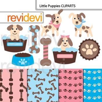 Cute clip art: Little Puppies (dog, pet) pink, blue, brown