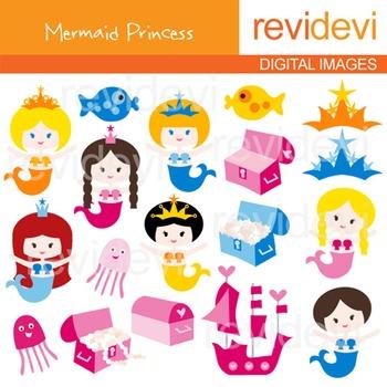 Cute clip art Mermaid Princess (treasure box, tiara, girls)